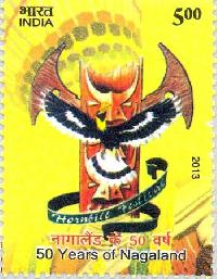 Indian Postage Stamp on 50 Years of Nagaland