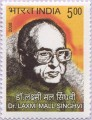 Indian Postage Stamp on Dr. Laxmi Mall Singhvi
