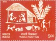 Indian Postage Stamp on Warli Painting